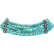 SOLD Vintage Sterling Silver Turquoise Beaded Choker Necklace Bracelet 40 Grams