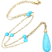 14k Gold Persian Turquoise Lavaliere Drop Necklace