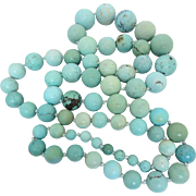 Chinese Old Natural Turquoise Stone Beaded Necklace Heavy 117 Grams