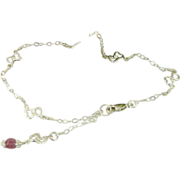 SOLD Handmade Sterling Silver Heart Ankle Bracelet With Ruby Charm