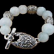 Handmade Sterling Silver Filigree and Natural Aquamarine Bracelet