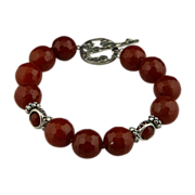 Different and New-Faceted Carnelian and Sterling Silver Bracelet