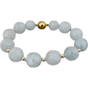 Pretty, Gentle Aquamarine and 14KT Gold-Filled Beaded Bracelet