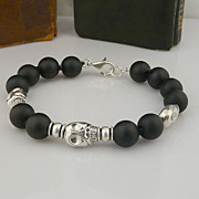 Unisex Sterling Silver Skull and Matt Onyx Bead Bracelet
