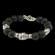 Unisex Sterling Silver Skull and Matt Onyx Bead Bracelet