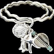 Artisan Handmade Sterling Silver Bangle Bracelets with Sea and Aquamarine Charms