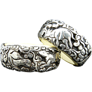 Handmade Artisan Carved Sterling Silver on Bone Nepalese Bangle Bracelet
