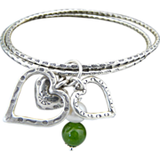 Artisan Handmade Karen Hill Tribe .999 Fine Silver Bangles With Heart and Jade Charms