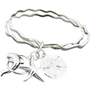 Artisan Handmade Sterling Silver Bangle Bracelets with Charms