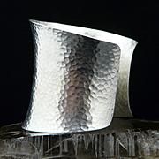 Handmade Artisan Large Solid Hammered Fine/Sterling Silver Cuff Bracelet
