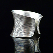 Handmade Artisan Wide Sterling Silver Textured Cuff Bracelet