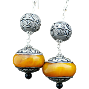 Handmade Artisan Bohemian, Natural Baltic Amber and Sterling Silver Dangle Earrings