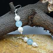 Aquamarine, Cultured Pearl and Sterling Silver Earrings