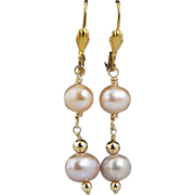 Artisan Handmade Pastel Cultured Pearl Drop Earrings