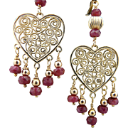 Artisan Handmade Elegant,  14Kt Gold Filled, Natural Faceted Ruby Heart Chandelier Earrings