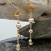 Artisan Handmade Natural Faceted Citrine and 14Kt Gold Filled Long Column Dangle Earrings