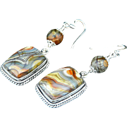 Artisan Handmade Unique Picture Jasper and Sterling Silver Dangle Earrings
