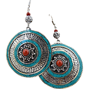 Large Artisan Handmade Bohemian Sterling Silver Turquoise and Coral Dangle Earrings