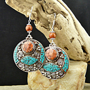 Handmade Nepalese Artisan Mosaic Coral, Turquoise and Sterling Silver Earrings
