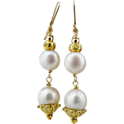 Handmade Asian Flair Cultured Pearl  Gold Over Sterling Dangle Earrings