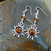 Pretty Sterling Silver and Genuine Baltic Amber Sun Burst Dangle Earrings