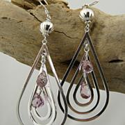Artisan. Handmade Sterling Silver and Amethyst Briolette Earrings