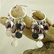 Handmade Artisan Dazzling Natural Garnet and Sterling Silver Dangle Hoop Ear Rings