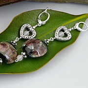 Sterling Silver Heart Earrings with Handmade Beads and Rose Quartz