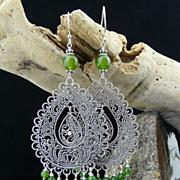 Artisan Handmade Bali Sterling Silver Filagree Earrings with Natural Jade