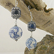 Artisan Sterling Silver, Natural Lapis and Hand Painted Asian Influence Porcelain Earrings