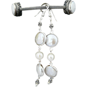 Artisan Handmade Natural Cultured Pearl and Sterling Silver Dangle
