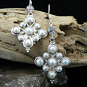 Handmade Artisan Sterling Silver and Chinese Cultured Pearl Dangle Earrings