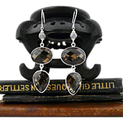Artisan Handmade Natural Smokey Quartz and Sterling Silver Dangle Earrings