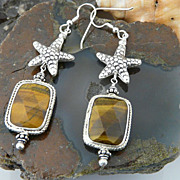 Artisan Handmade Natural Tiger Eye and Sterling Silver Starfish Earrings