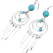 Handmade Artisan Sterling Silver and Turquoise Dangle Charm Earrings