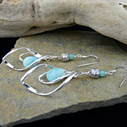 Artisan Handmade Sterling Silver and Amazonite Dangle Earrings