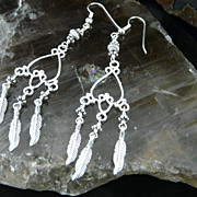 Extra Long Sterling Silver Heart Chandelier Earrings
