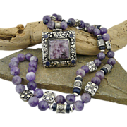 Magnificent Bohemian Artisan Handmade Natural Lapis, Charoite, Amethyst and Sterling Silver ..