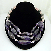 Handmade Gently Beautiful Triple Strand Artisan Natural Amethyst Nugget, Rose Quartz and Bali