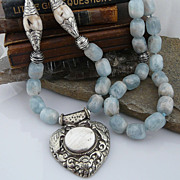 Handmade Nepalese Mottled Aquamarine, Bone and Silver Heart Pendant Necklace