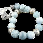 Handmade Artisan Natural Aquamarine and Karen Hill Tribe Sterling Silver Choker