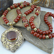 Handmade Natural Carnelian and Solid Brass Necklace with Nepalese Pendant
