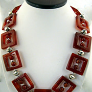 Unusual Handmade Square Cut Out Carnelian and Sterling Silver Necklace
