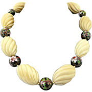 Artisan Vintage Handcarved Deco Tagua Nut, Cloisonne  and 14KT Gold Filled Necklace