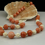 Coral Bead, Delicate Carved Bone and Gold-Filled Bead Necklace