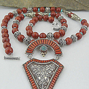 Handmade Artisan Bohemian Coral, Turquoise and Sterling Silver Ethnic Influenced Necklace with