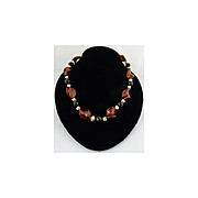 Genuine Murano Glass, Faceted Onyx and 18kt Gold Vermeil Necklace