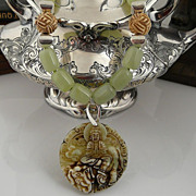 Artisan Handmade Asian Inspired Chinese Jade, Sterling Silver and Bone Smiling Buddha Pendant