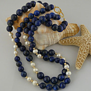 Beautiful and Classic Double Strand Lapis, Cultured Pearl, and 14Kt Gold-Filled Beaded Necklac