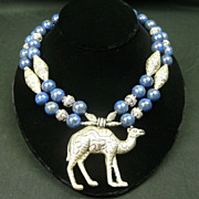 Handmade Artisan Natural Lapis and Sterling Silver Choker with Camel Pendant